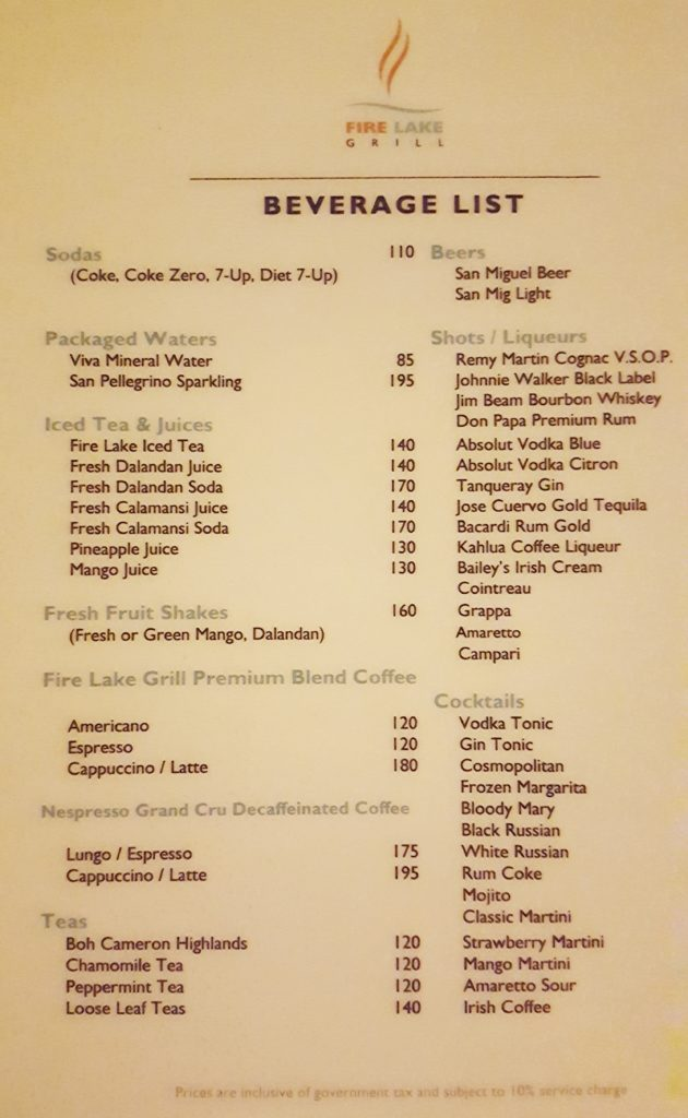 Fire Lake Grill Menu - beverage