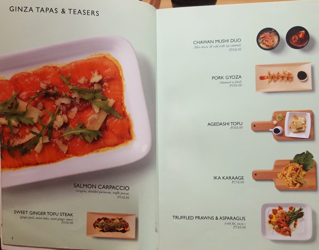 Ginza Tapas & Teasers Menu - John and Yoko Cosmopolitan Japanese Restaurant