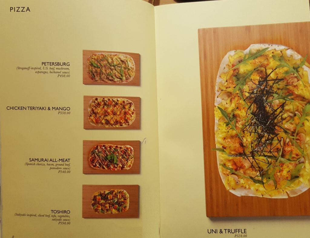 Pizza Menu - John and Yoko Cosmopolitan Japanese Restaurant
