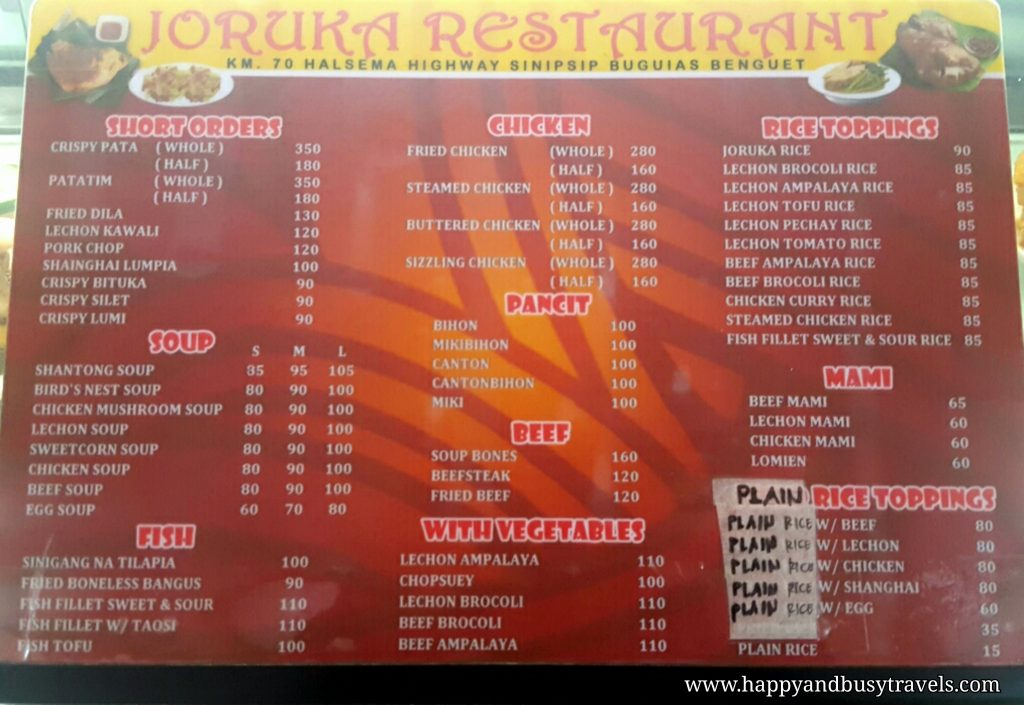 joruka restaurant menu - Happy and Busy Travels to Sagada