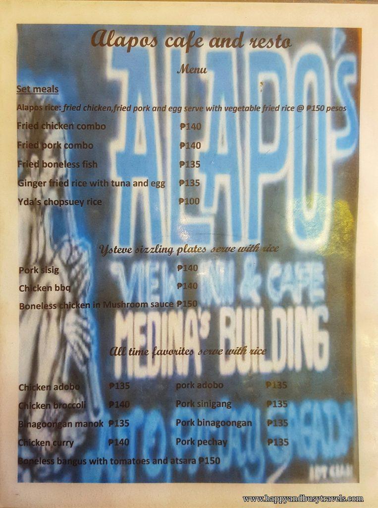 Alapo Inn menu - Happy and Busy Travels to Sagada