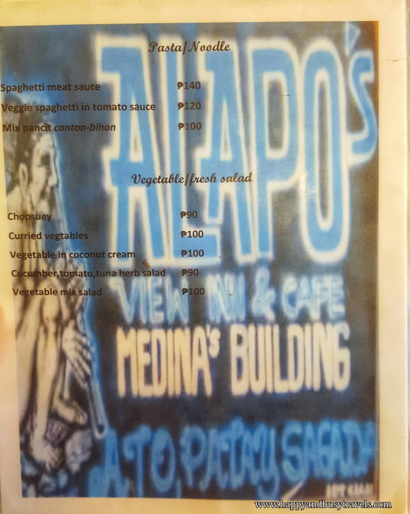 Alapo Inn menu - Happy and Busy Travels to Sagada