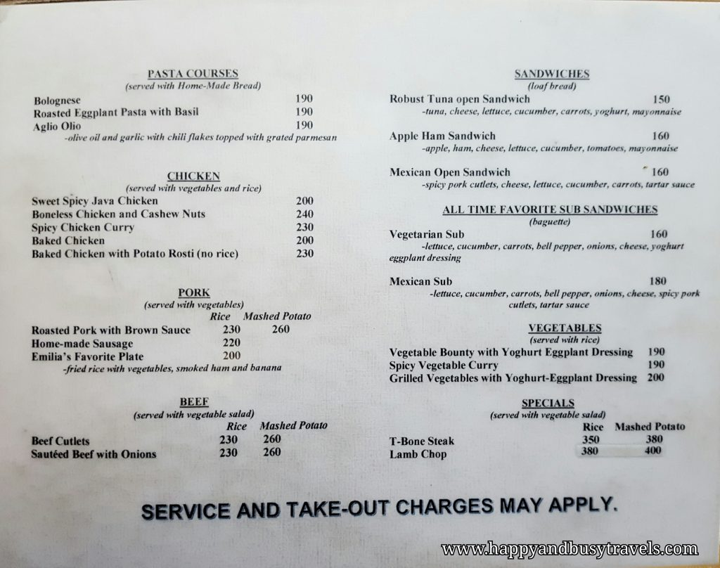 yoghurt house menu - Happy and Busy Travels to Sagada