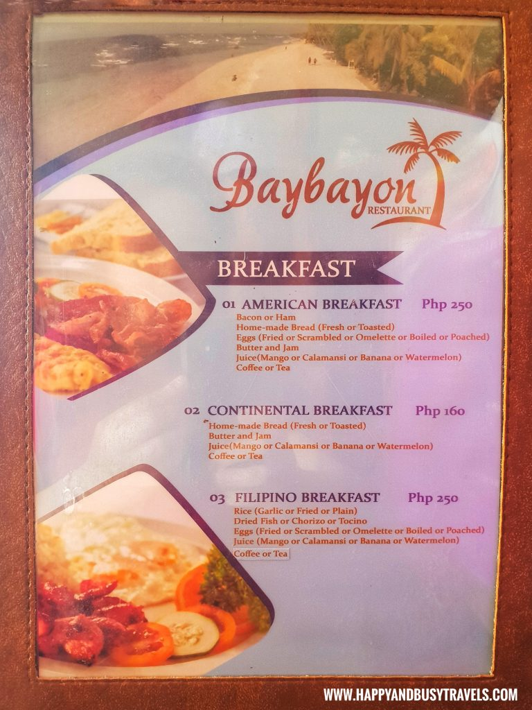 Alona Tropical Beach Resort Baybayon Restaurant Menu Breakfast
