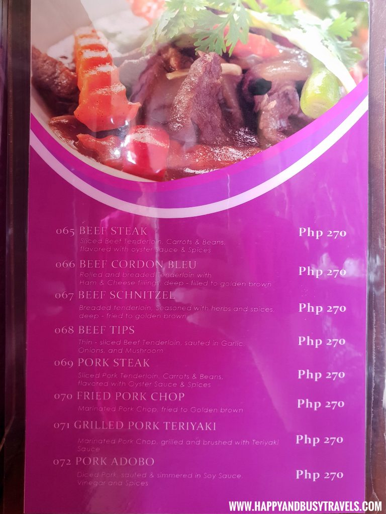 Alona Tropical Beach Resort Baybayon Restaurant Menu