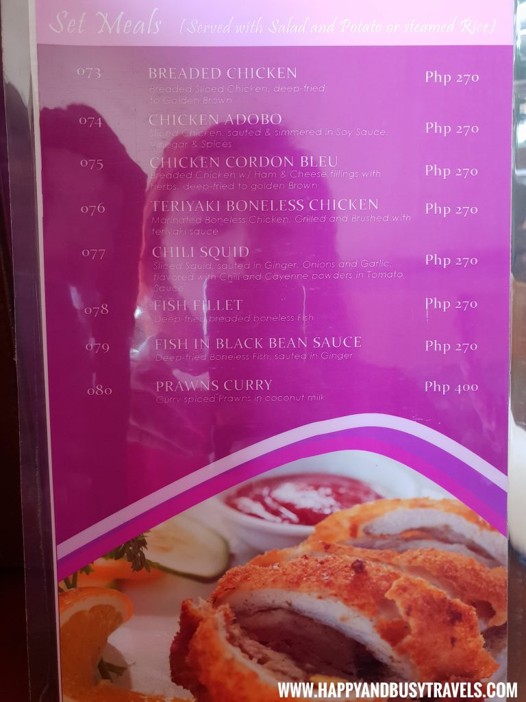 Alona Tropical Beach Resort Baybayon Restaurant Set MEals Menu