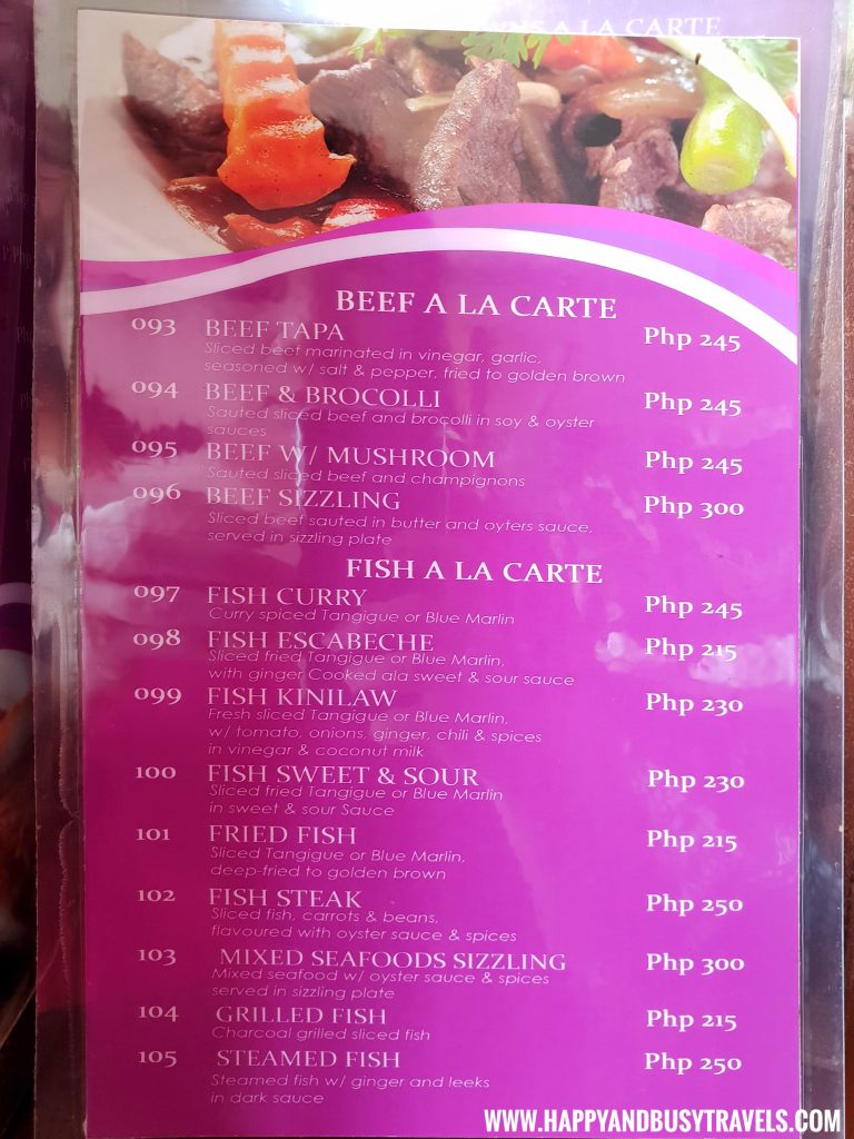 Alona Tropical Beach Resort Baybayon Restaurant Beef and Fish A LA Carte Menu