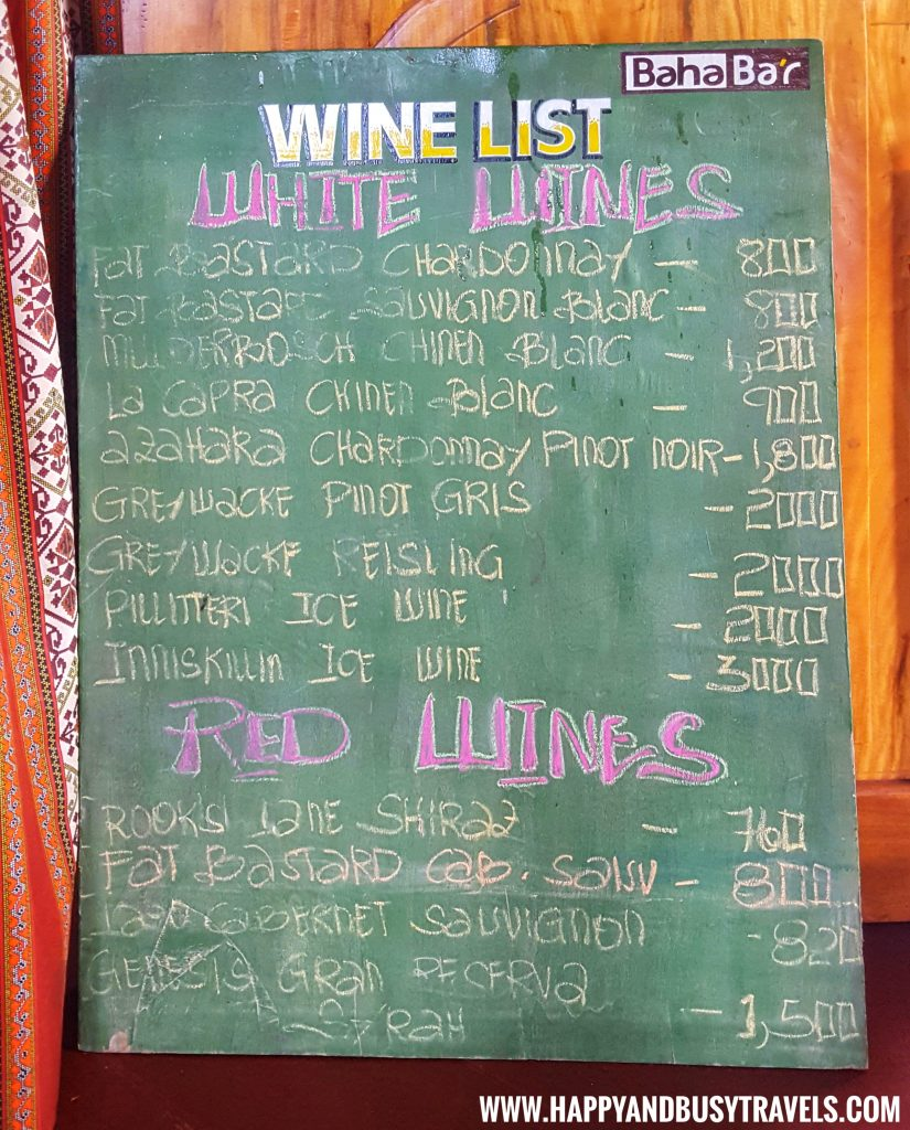 Wine list of Baha Bar