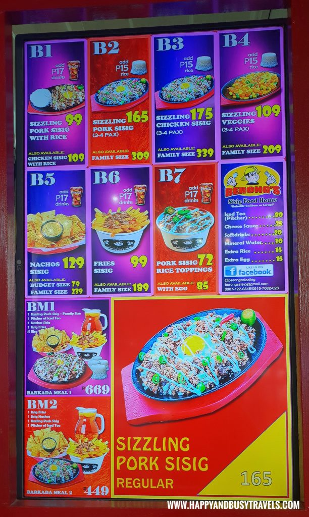 Food Barn Salitran Dasmariñas City Cavite Berong's Sisig Menu