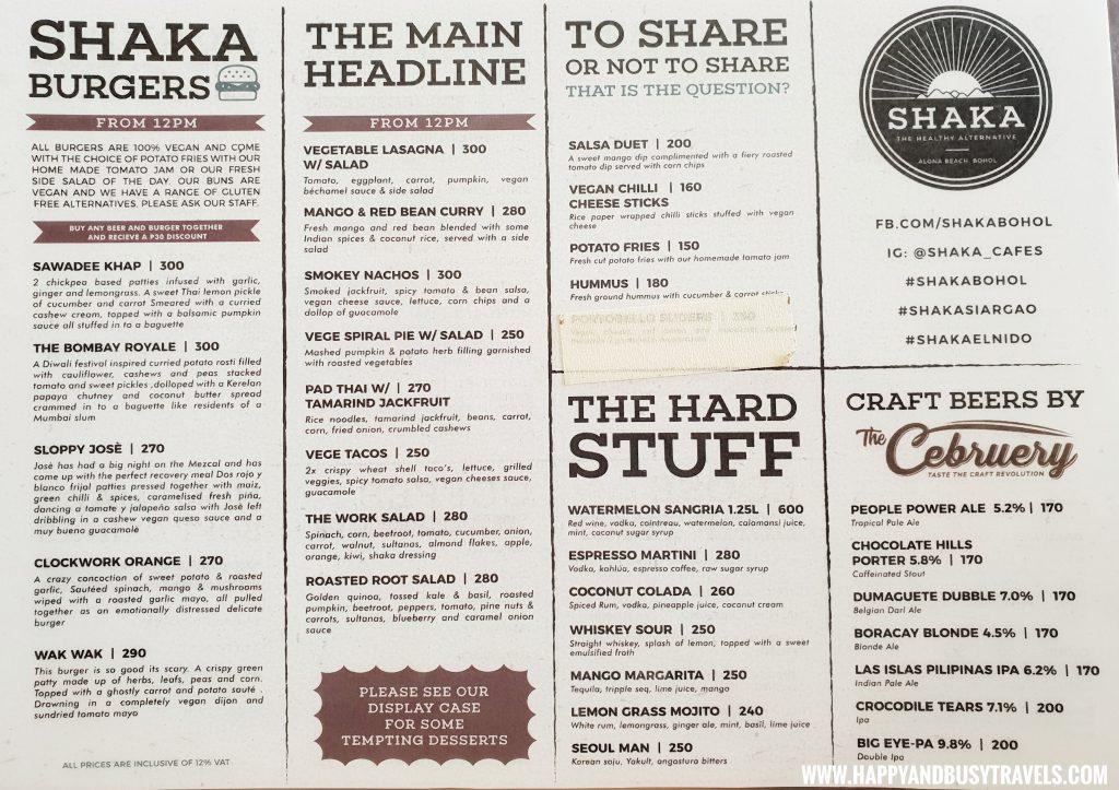 Shaka Restaurant Bohol Menu