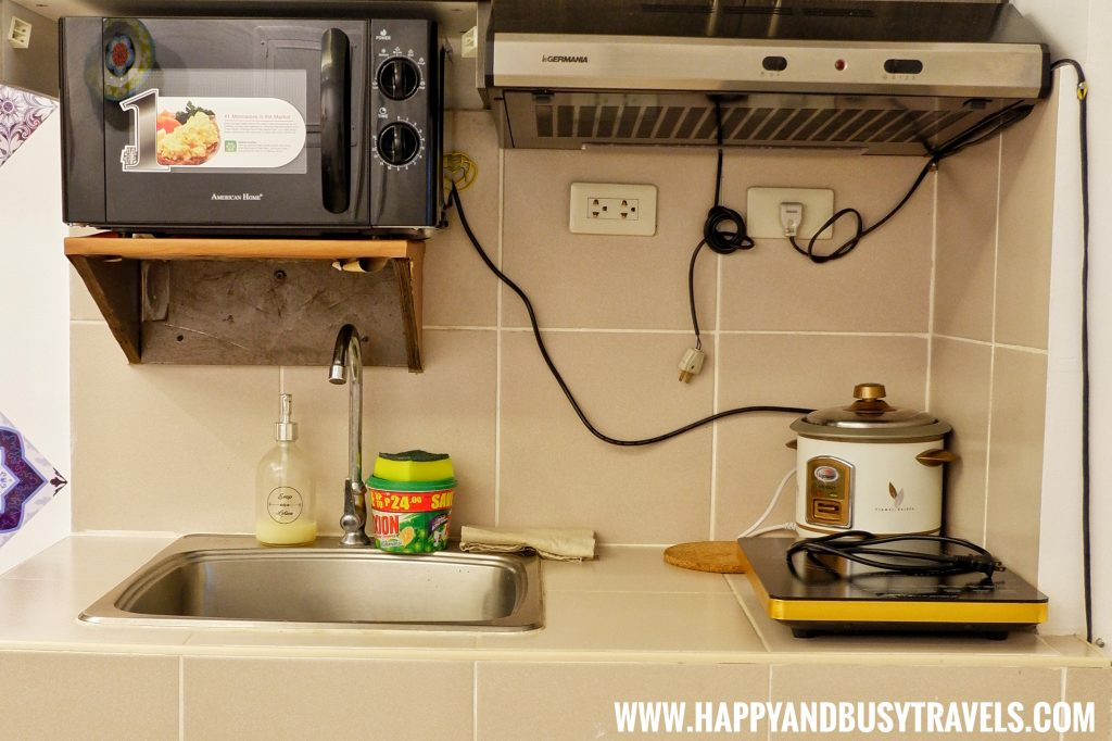 Microwave, induction cooker, sink of Riyad of Morocco condominium for rent in Tagaytay