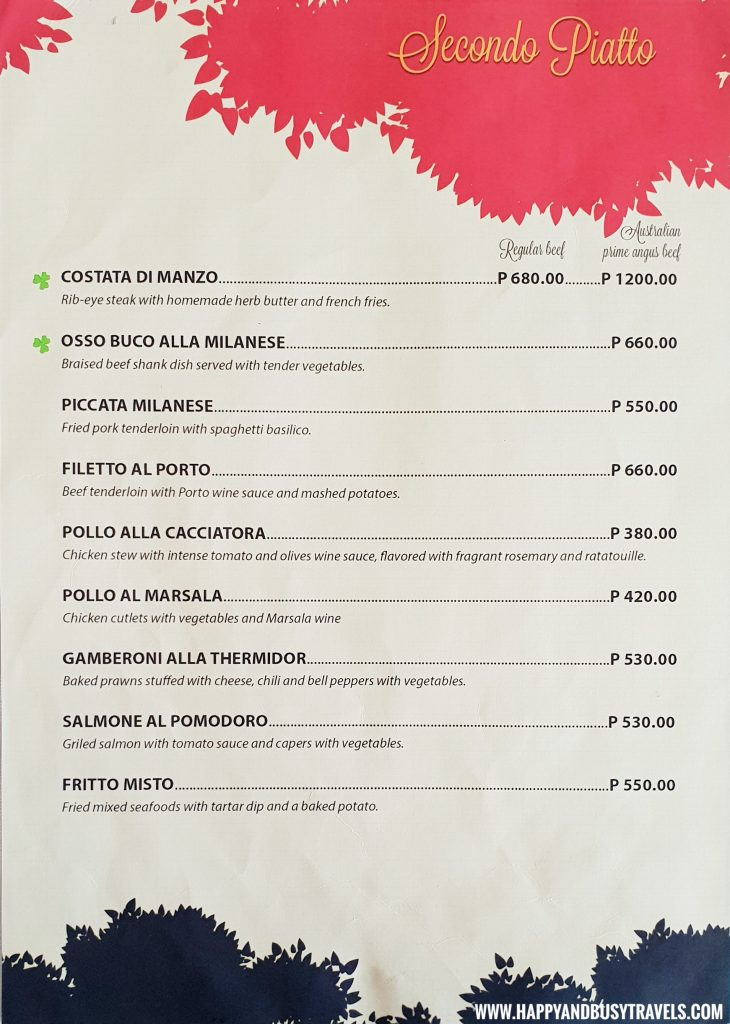 Secondo Piatto MEnu Trifoglio Ristorante Fora Mall Happy and Busy Travels to Tagaytay