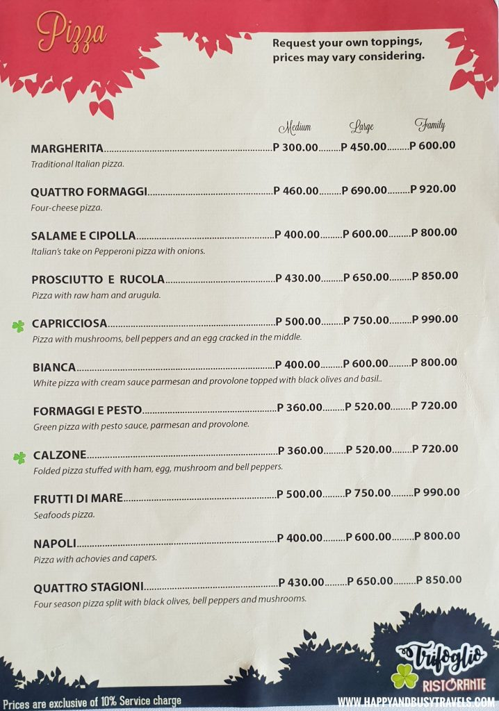 Pizza Menu Trifoglio Ristorante Fora Mall Happy and Busy Travels to Tagaytay