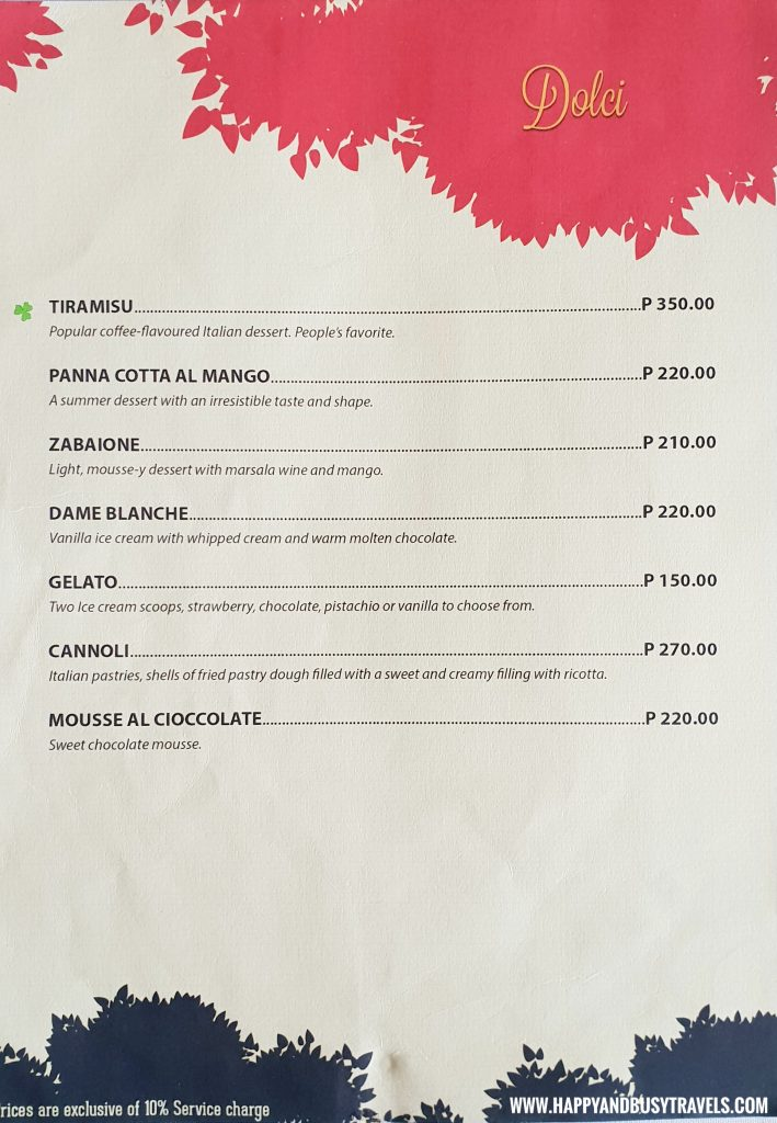 Dolci or Dessert Menu Trifoglio Ristorante Fora Mall Happy and Busy Travels to Tagaytay