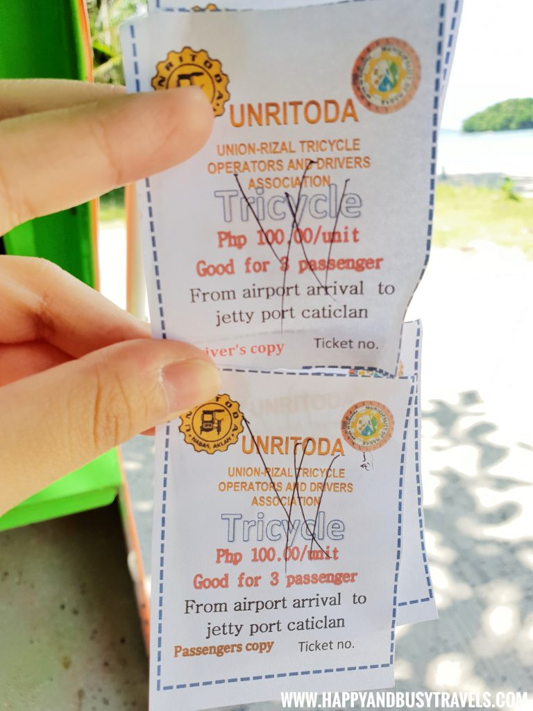 Tricycle ticket at the Boracay Airport The New Caticlan Airport article of Happy and Busy Travels