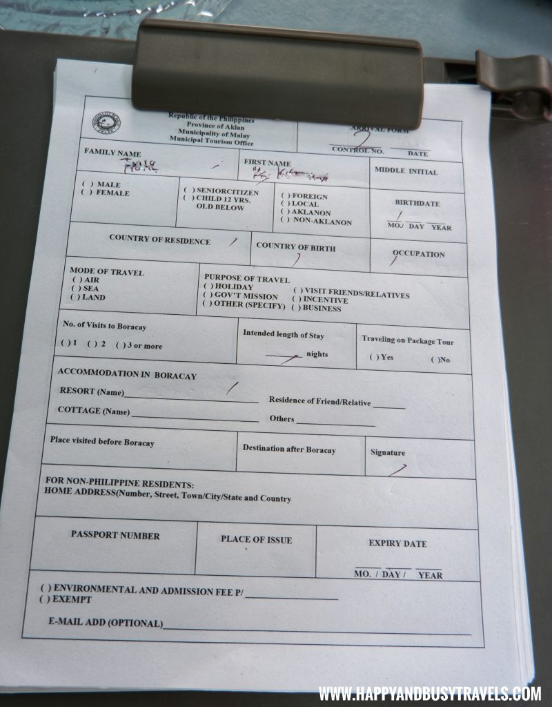 Registration Form at the Caticlan Jetty Port