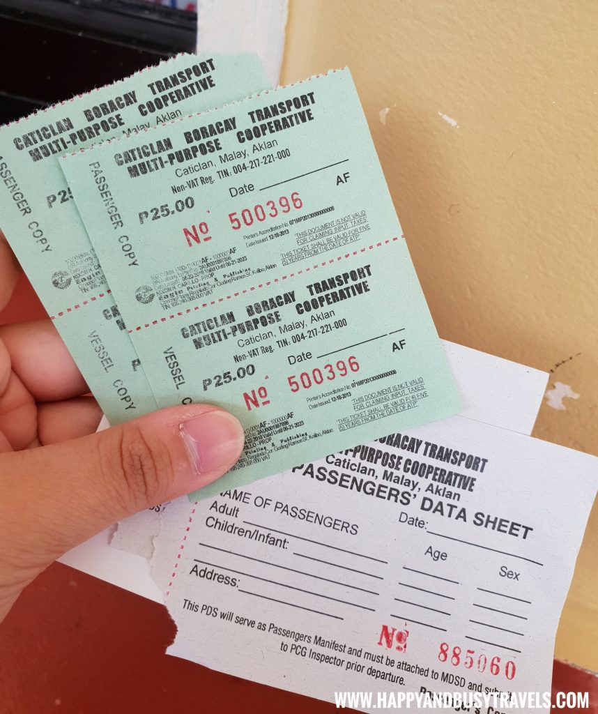 Environmental Fees and Passenger Data Sheet Cagban Port - Happy and Busy Travels to Boracay