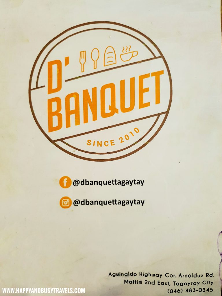 Menu D' Banquet Bakeshop and Restuurant Happy and Busy Travels to Tagaytay