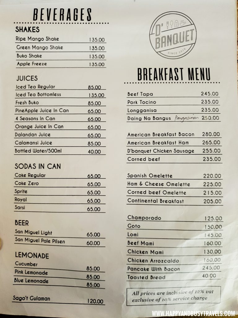 Beverages and Breakfast Menu D' Banquet Bakeshop and Restuurant Happy and Busy Travels to Tagaytay