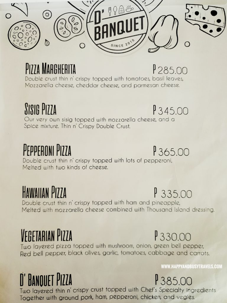 Pizza Menu D' Banquet Bakeshop and Restuurant Happy and Busy Travels to Tagaytay