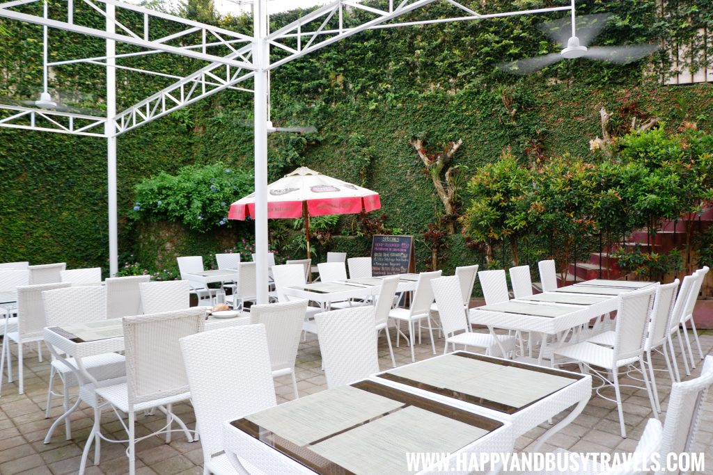 Garden dining area of Deli de San Honore Happy and Busy Travels to Tagaytay