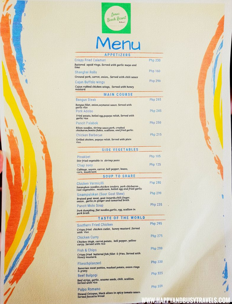 Menu of the restaurant of Lanas Beach Resort Happy and Busy Travels to Carabao Island Romblon