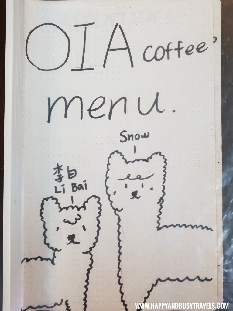 Menu of OIA Cafe, Alpaca Cafe, animal cafe - Happy and Busy Travels to Taiwan