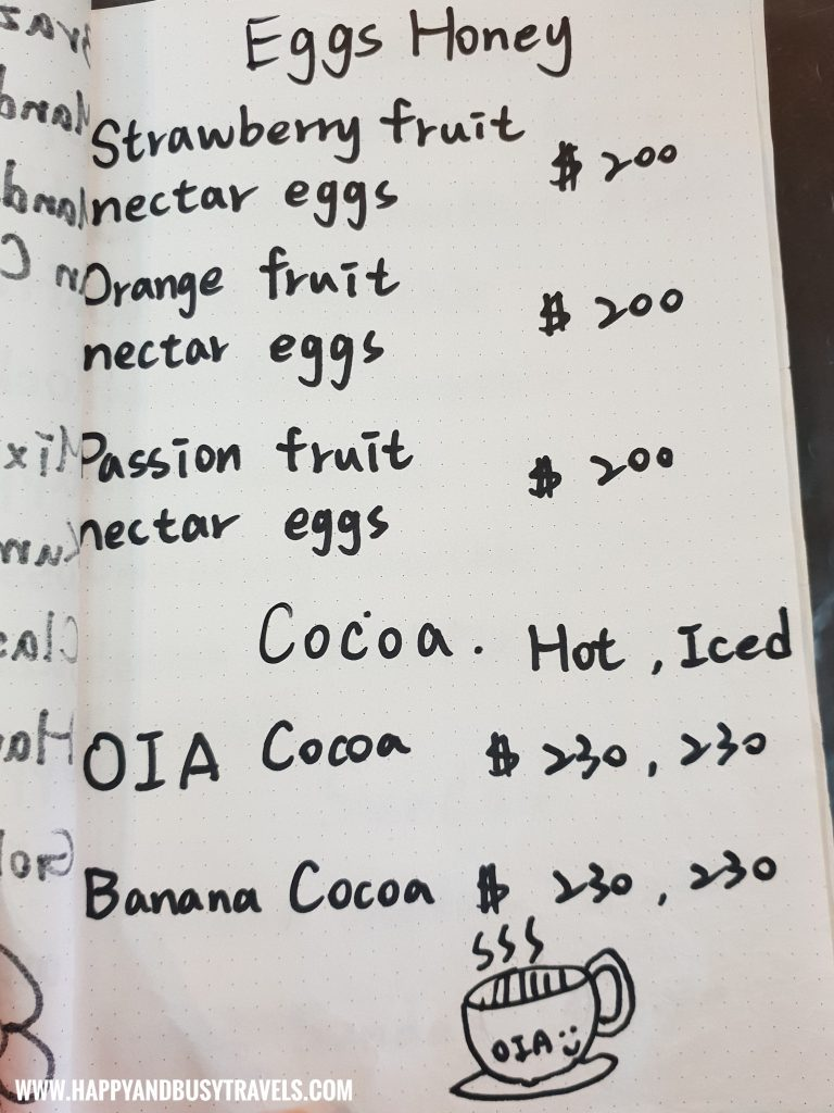 Eggs Menu of OIA Cafe, Alpaca Cafe, animal cafe - Happy and Busy Travels to Taiwan