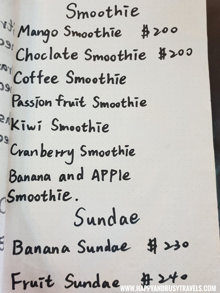 Smoothie Menu of OIA Cafe, Alpaca Cafe, animal cafe - Happy and Busy Travels to Taiwan