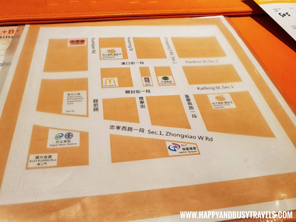 Breakfast map Orange Hotel Kaifong Happy and Busy Travels to Taiwan