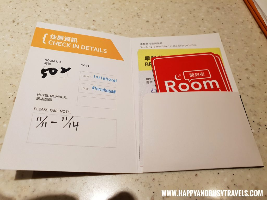Key card and breakfast vouchers of Orange Hotel Kaifong Happy and Busy Travels to Taiwan