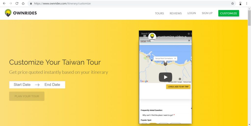 Ownrides Rent a car Customize your Tour Happy and Busy Travels to Taiwan