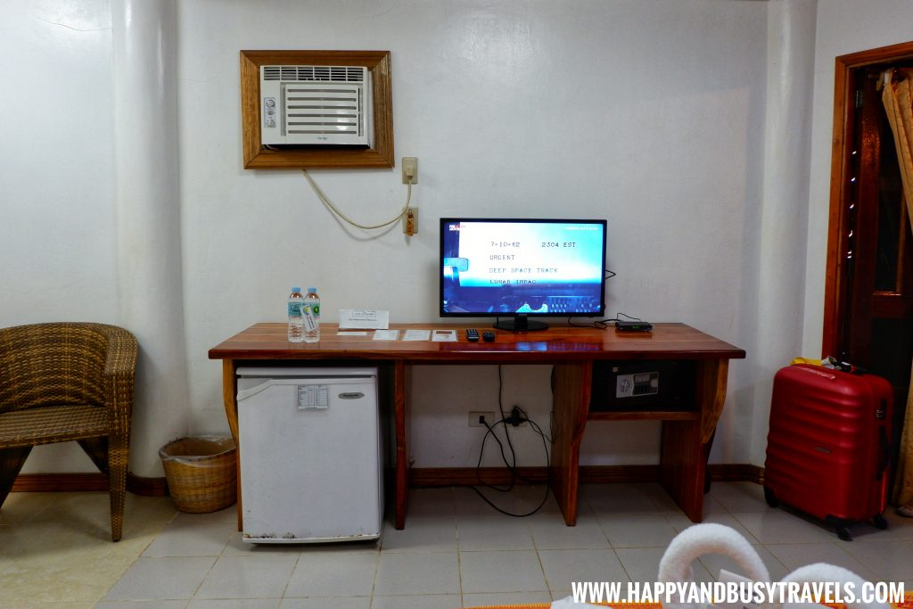 television refrigerator and table of deluxe room of nigi nigi nu noos 'e' nu nu noos beach resort Happy and Busy Travels to Boracay