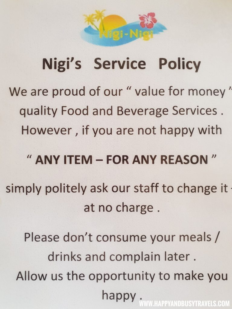 service policy of the restaurant of nigi nigi nu noos 'e' nu nu noos beach resort Happy and Busy Travels to Boracay
