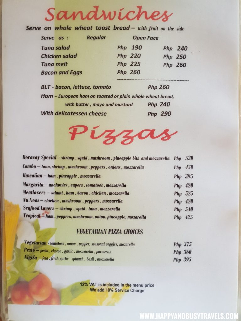 Sandwiches and Pizza menu of the restaurant of nigi nigi nu noos 'e' nu nu noos beach resort Happy and Busy Travels to Boracay