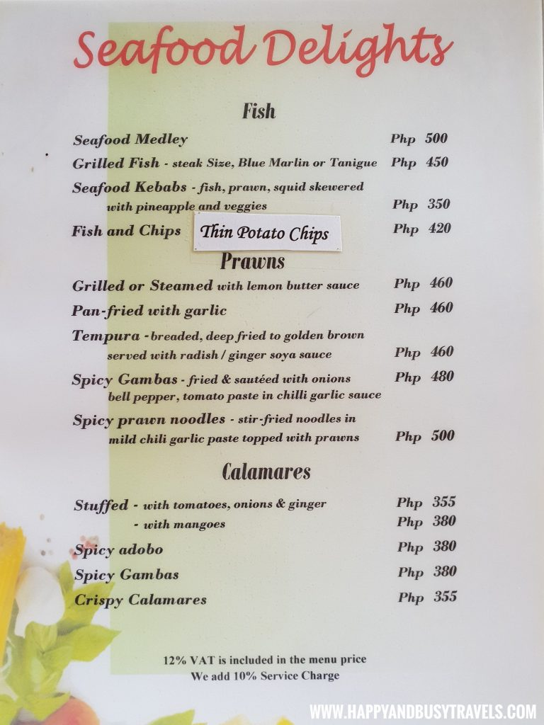 Seafood delights menu of the restaurant of nigi nigi nu noos 'e' nu nu noos beach resort Happy and Busy Travels to Boracay