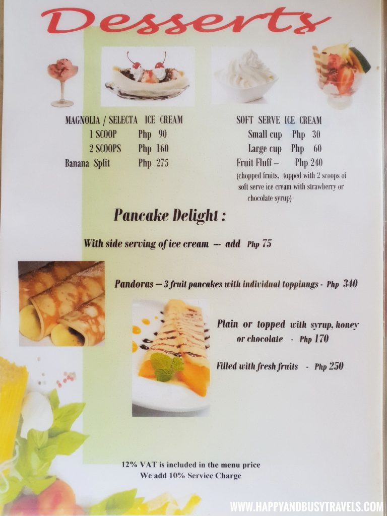Desserts menu of the restaurant of nigi nigi nu noos 'e' nu nu noos beach resort Happy and Busy Travels to Boracay