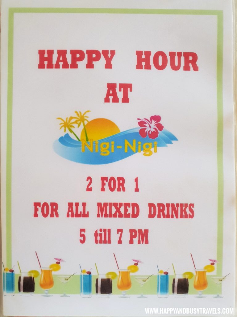 Happy Hour menu of the restaurant of nigi nigi nu noos 'e' nu nu noos beach resort Happy and Busy Travels to Boracay