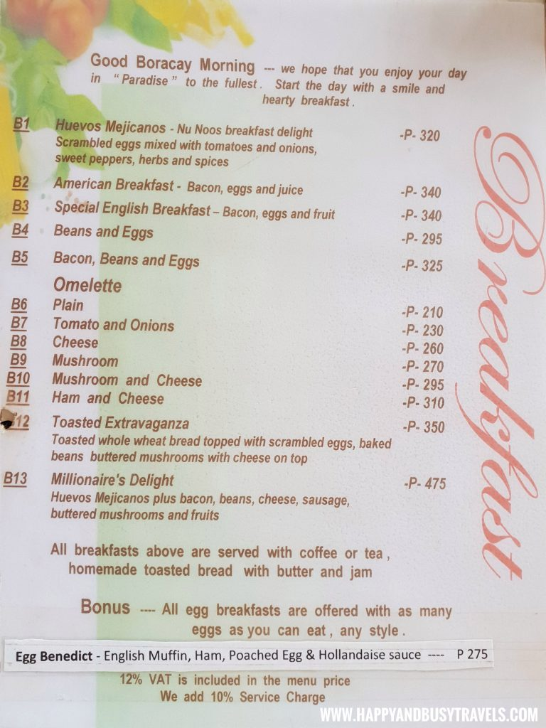 Breakfast menu of the restaurant of nigi nigi nu noos 'e' nu nu noos beach resort Happy and Busy Travels to Boracay