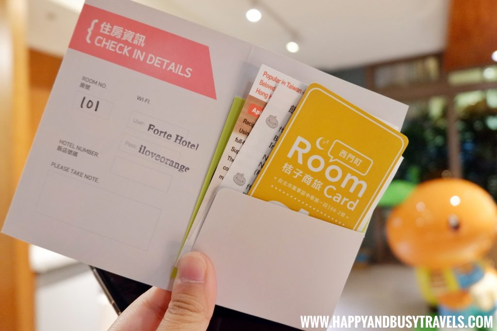 Key card of Orange Hotel Ximen review of Happy and Busy Travels to Taiwan