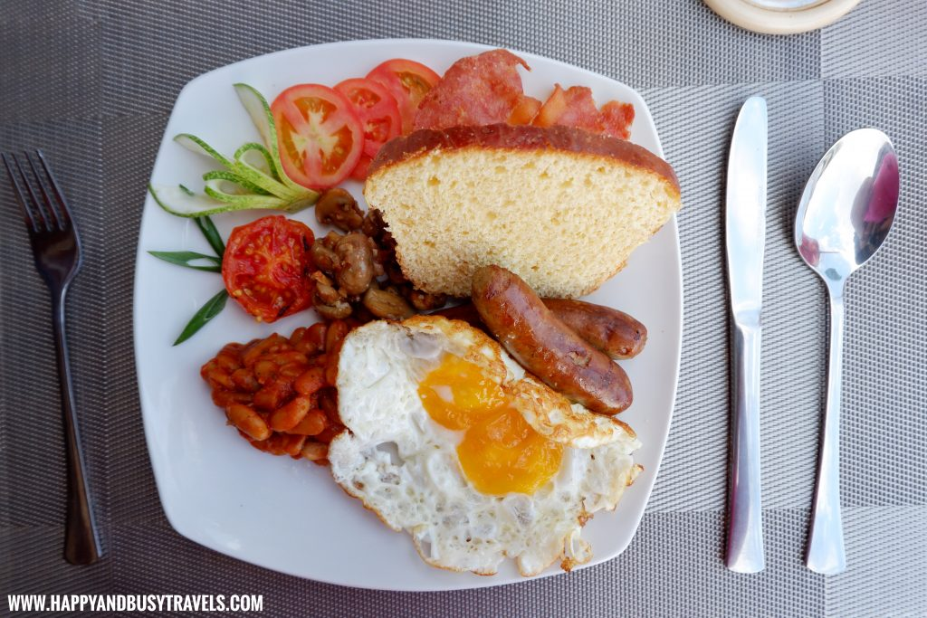 English Skillet Breakfast at Ocean's Edge Resort Carabao Island Romblon Review Happy and Busy Travels