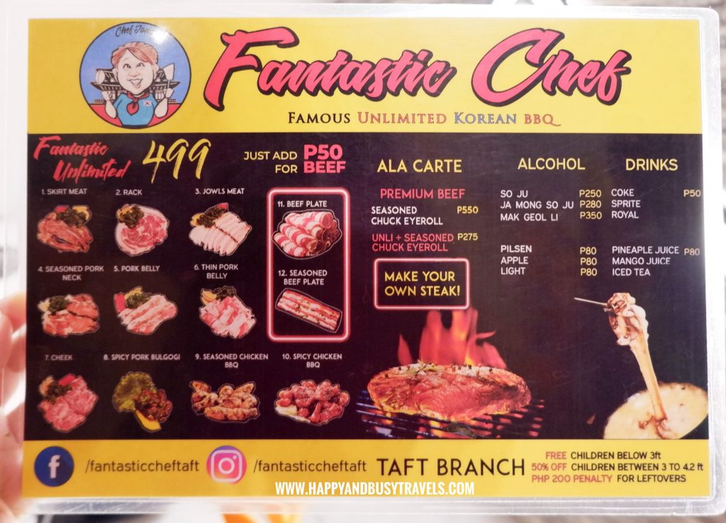Fantastic Chef Taft Menu Happy and Busy Review