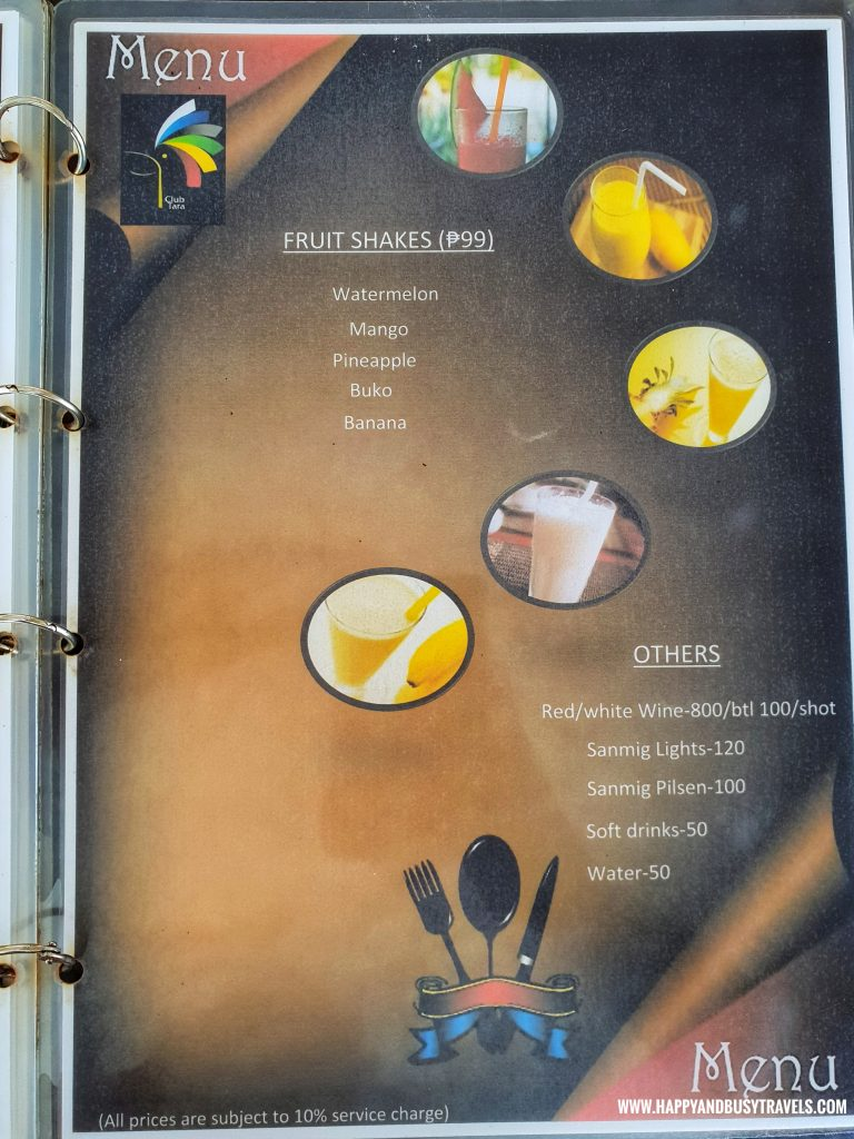 Club Tara Resort Surigao Del Norte Stilt Resort Menu - Happy and Busy Travels
