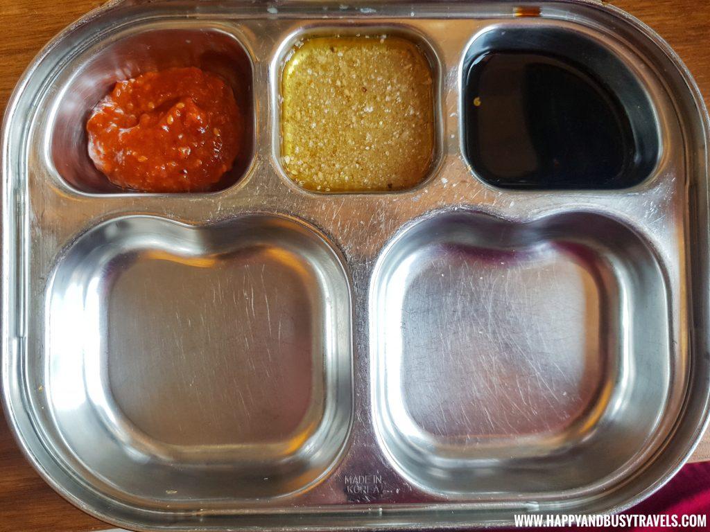 Fantastic Chef Remedios Samgyeupsal plate and sauces