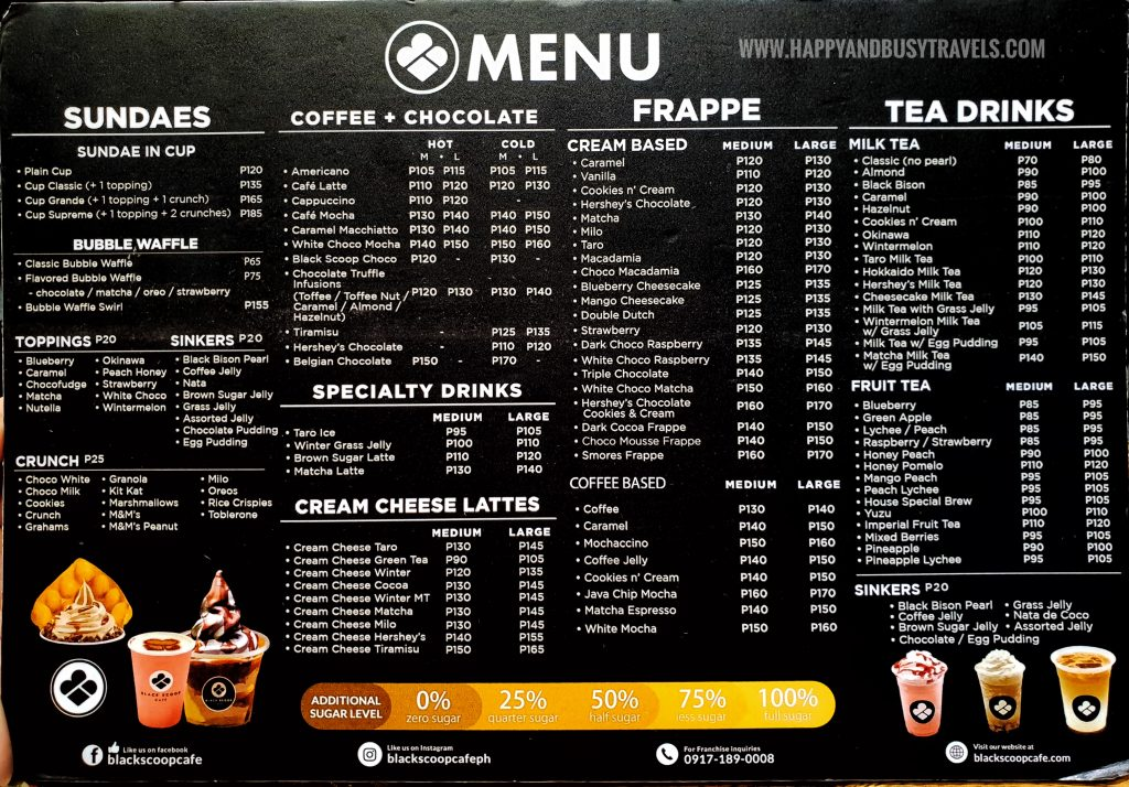 Menu of Black Scoop Cafe SM Dasmarinas Cavite Branch review Happy and Busy Travels