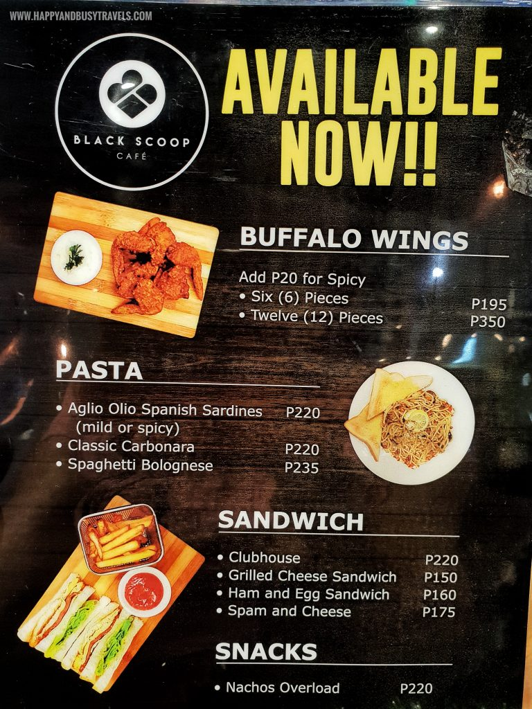 Buffalo wings pasta sandwich Menu of Black Scoop Cafe SM Dasmarinas Cavite Branch review Happy and Busy Travels