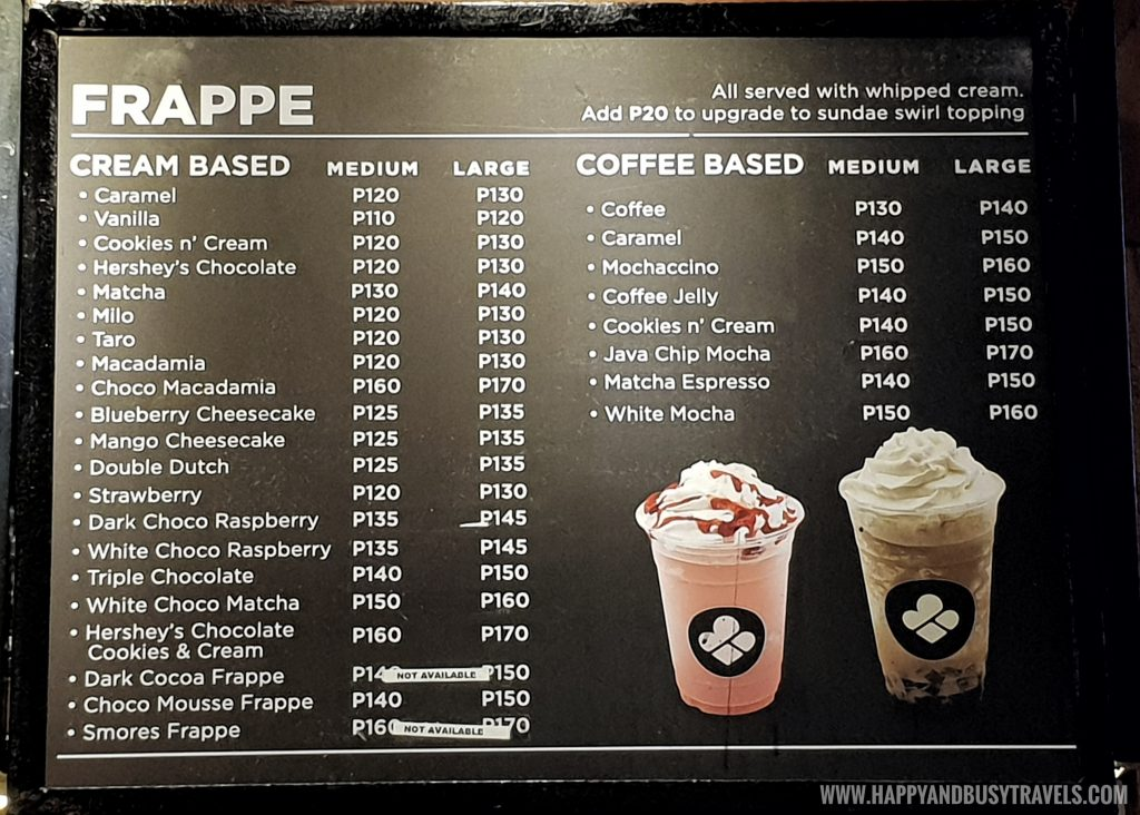 Frappe menu of Black Scoop Cafe SM Dasmarinas Cavite Branch review Happy and Busy Travels