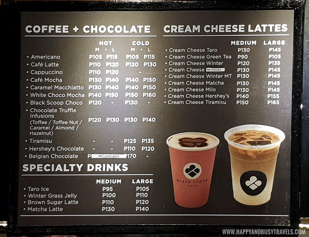 coffee chocolate specialty drinks menu of Black Scoop Cafe SM Dasmarinas Cavite Branch review Happy and Busy Travels