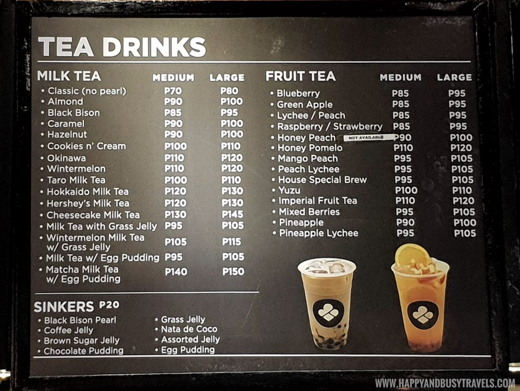 tea menu of Black Scoop Cafe SM Dasmarinas Cavite Branch review Happy and Busy Travels