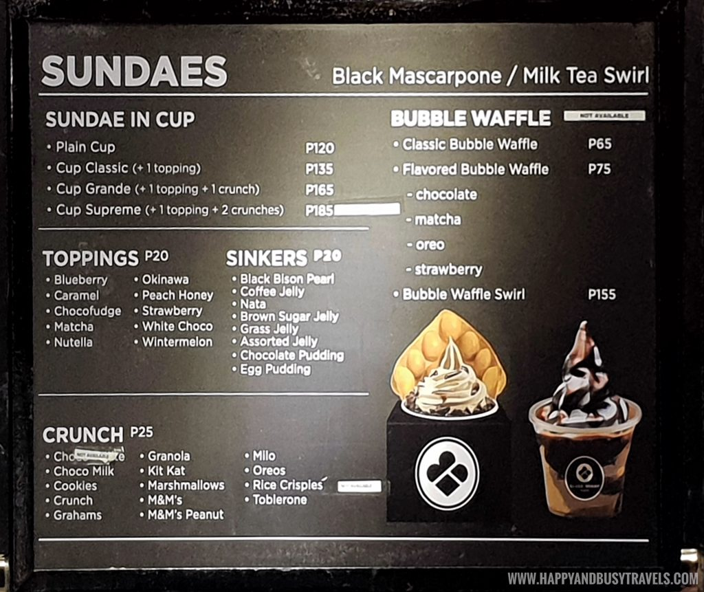 sundae menu of Black Scoop Cafe SM Dasmarinas Cavite Branch review Happy and Busy Travels